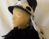 Vintage Mod '60s Black Tall Straw Hat by Modern Miss Jr. Wraparound Polka Dot Scarf Unique and Fashionable...Very Audrey Hepburn