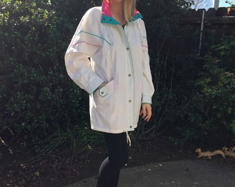 1980s MED/LRG white and neon WINDBREAKER loose Jacket