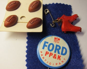 Vintage NFL Ford PPK Pin Football Cleats Charm Earrings