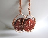Brownish Red Spotted Shell Beads Wire Wrapped Copper Earrings,Disc Earrings,Shell Earrings,Wire Wrapped Earrings,Copper Earrings