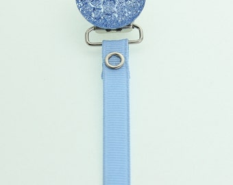 Blue  Crushed Crystal Pacifier Clip(MSRP 18.00)