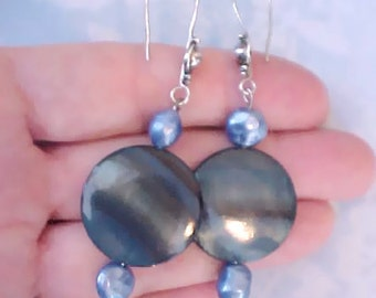 Pretty Dangling Earrings with Blue Mother-of-Pearl Disks