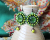 Green Dangle Earrings Olive Earrings Cabochon Earrings Bead Embroidery Earrings Beadwork Earrings Green Jewelry Boho Ethnic St Patricks Day