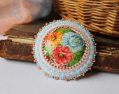 Beaded Flowers Brooch Folk Jewelry Russian style Pink Green White Brooch Hand Painted Brooch Cabochon Brooch Embroidery jewelry Floral