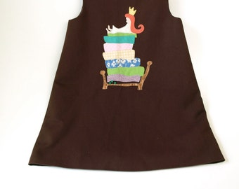 Vintage little girls 6X chocolate brown a line jumper dress princess and the pea
