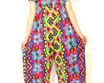 Vintage 80s 90s bright bold summery cotton palazzo pants dress size s or m