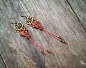 Macrame boho elven earrings antique brass tone bohemian gypsy women jewelry by Creations Mariposa