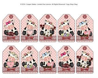 Digital Printable Valentine Cow Gift Tags