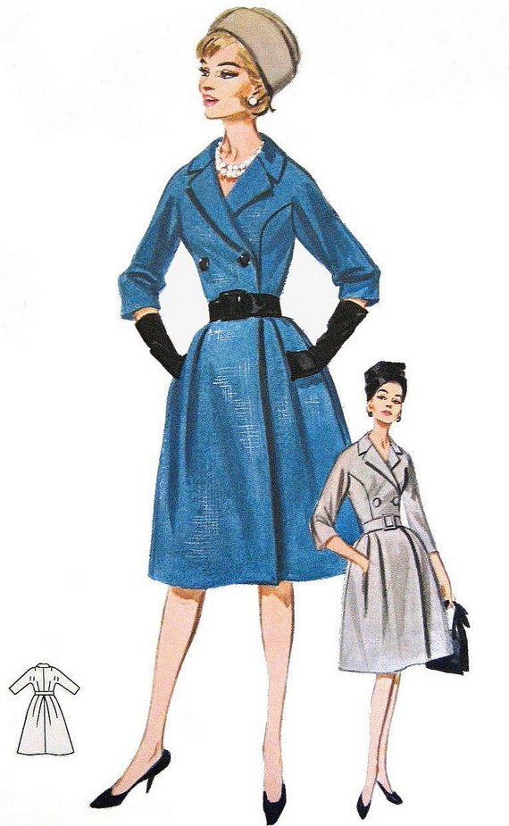 Vintage 1960s Coat Dress Sewing Pattern Double Breasted W
