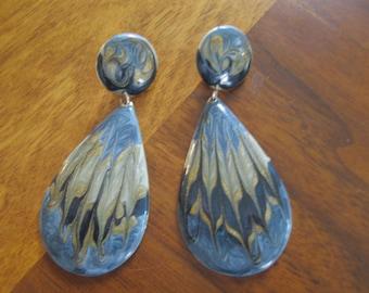 Vintage metal and enamel swirl earrings.  Pierced.  Blue.