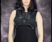 Hunter Hoodie Vest with Leather Panels & Gunmetal Hardware by Loose Lemur Clothing