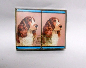 Vintage Playing Cards Irish Setter Card Deck Plastic Coated Playing Cards