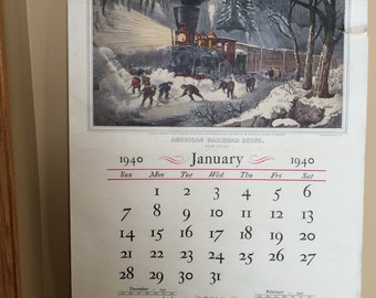 Travelers Calendar of Currier and Ives Prints Large 1940 Advertising Calendar Currier and Ives Published by The Travelers 16x22 Calendar