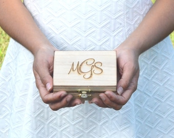 We Do wooden ring bearer box personalized wedding ring box