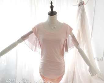 SUMMER CLEARANCE SALE  2015 Spring Romantic Off Shoulder Butterfly Chiffon Sleeves Stretch Bodycon Dress Baby Pink Pastel