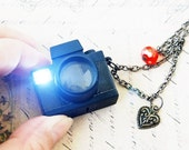 Loving lomo - Holga or Diana mini camera necklace with real flashing lights and shutter sounds