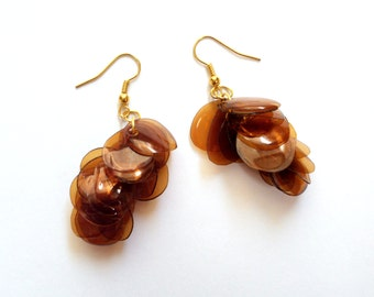 Amber earrings made of plastic bottle recycled jewelry brown earrings sustainable jewelry upcycled earrings eco friendly jewelry