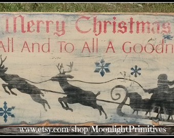Merry Christmas To All And To All A Good Night,  Primitive Christmas, Christmas Decor, Rustic Signs, Wooden Signs