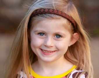 Brown Headband - Dark Brown Headband - Hard Headband - Plastic Headband - Ribbon Woven Headband - Child Toddler Teenager Adult Headband