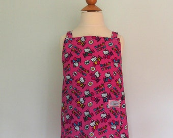 Pink Hello Kitty Apron, Japanese Apron, Crossback Apron, Girls Pink Apron