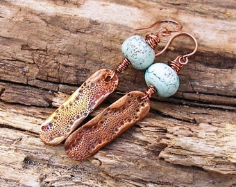 Rustic Copper Sea Urchin and Copper Green Rustic Lampwork Earrings   566