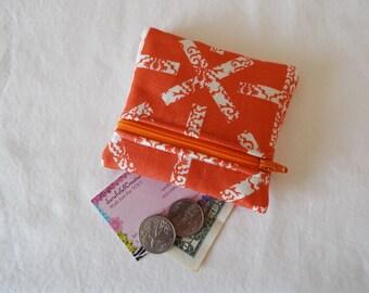 Coin Purse, Zipper Pouch, Change Purse, Wallet, X, cross, x marks the spot, orange