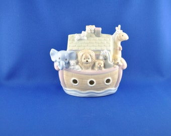 Vintage 1995 Precious Moments Noah's Arc Porcelain Coin Bank By Enesco, Children, Animals, Boat, Ship, Dog, Cat, Goat, Giraffe