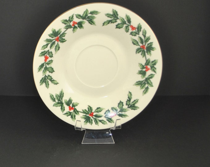 Vintage Christmas Teacup Saucer, Ivory Porcelain w/ Holly and Holly Berries, Formalities by Baum Brothers Replacement Tea Saucer, China Cup