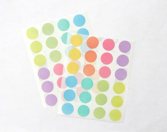 "Big Circle Stickers, 1"" inch Round Stickers, Pastel/Colorful/Multicolor Paper Stickers, Size 24mm, Set of 2 sheets or 48 stickers"