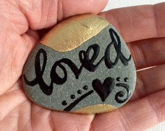 Loved/ So loved / I love you/ Anniversary / painted rock/ sea stone / Sandi Pike Foundas / love from Cape Cod