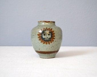 Vintage Jorge Wilmot Tonala Sun Face Vase