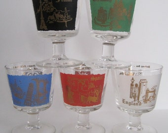 Vintage Bar Glasses - Germany Spain England Italy France