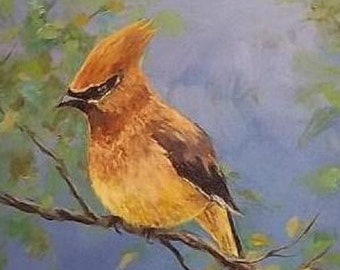 Cedar Waxwing, Original painting 6 x 8 inches