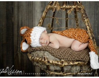 Newborn Little Fox Hat and Cover Cape and Hat Set Crochet Photo Prop
