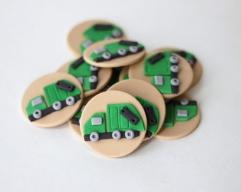 Garbage truck fondant toppers. Garbage party fondant toppers. Truck fondant and transporation toppers.