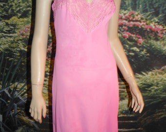 Slip Full Bright Pink Nylon Gotham Gold Stripe Wide Embroidered Lace Floral Design Accents on Top  & Bottom Empire Waist Front 34 Bust