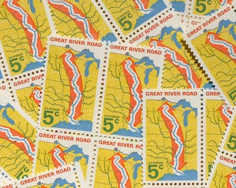 50 pieces - 1966 5 cent Great River Road - Vintage unused stamps - great for wedding invitations, save the dates