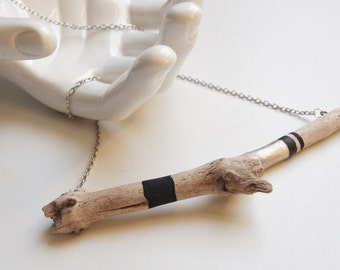 Gold Driftwood Necklace - ebony and gold Geometric necklace
