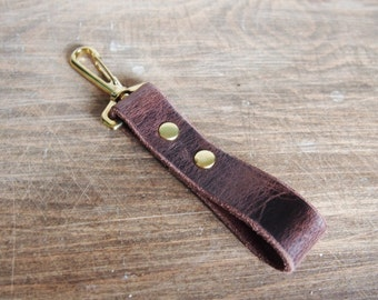 Brown leather key fob, personalised leather, swivel clip and hoop