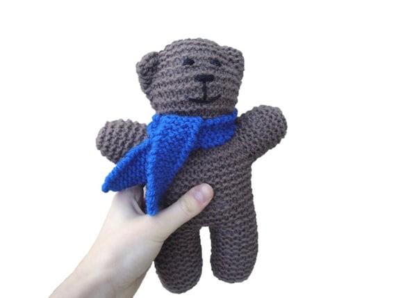 Bear in Scarf Hand Knit Teddy Bear 10 Toy Kids Plush by Girlpower