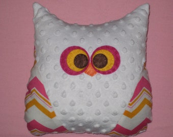 Chevron Owl - Minky Owl Plush - Owl Nursery - Ready to Ship