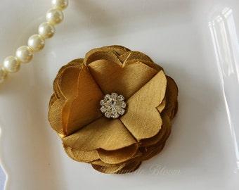 Yellow Gold Hair Clip, Flower Girl Hair Flower,  Mini Flower, Wedding, Bridal Hair Accessories, Cute Flower, Baby Hairclip, Flower for Hair