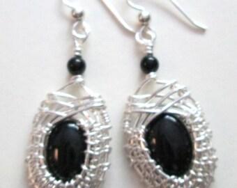 Black Onyx Woven Sterling Silver Earrings