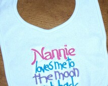 Baby Girl Bib - Nannie loves me to the moon and back