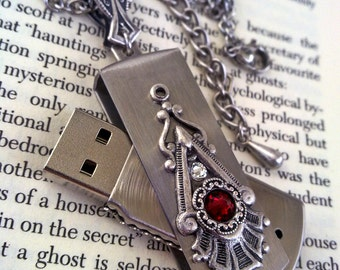 Bridesmaid Gift USB Pendant Necklace Flash Drive Memory Stick Pendant Red Swarovski Victorian Gothic Jewelry
