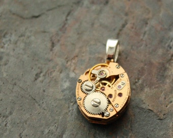 Steampunk Watch Pendant, Two Tone Rose & Silver Recycled Watch Pendant, Steampunk Recycled Watch Pendant