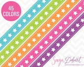 80% OFF SALE Clipart Stars Ribbon Borders 45 Colors Vector EPS Included Commercial Use