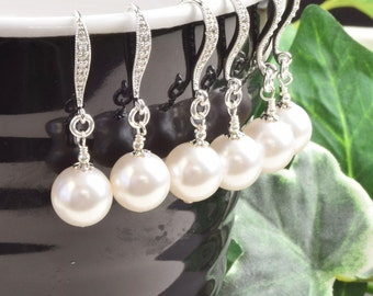 Pearl Jewelry Sets - Bridesmaid Earrings - SET OF 7 - Drop Pearl Earrings - Wedding Jewelry Set - Bridesmaid Jewelry - Bridal Party Jewelry