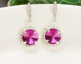 Hot Pink Earrings - Swarovski Crystal Earrings for Women - Fuchsia Earrings - Bridesmaid Jewelry - Wedding Jewelry - Bridesmaid Earrings