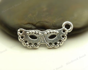 10 Mask Charms Antique Silver Tone Metal 24x10mm - Masquerade Charms - BF7